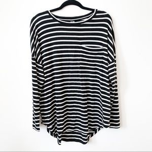 Black + White Striped Long Sleeved Top // Old Navy